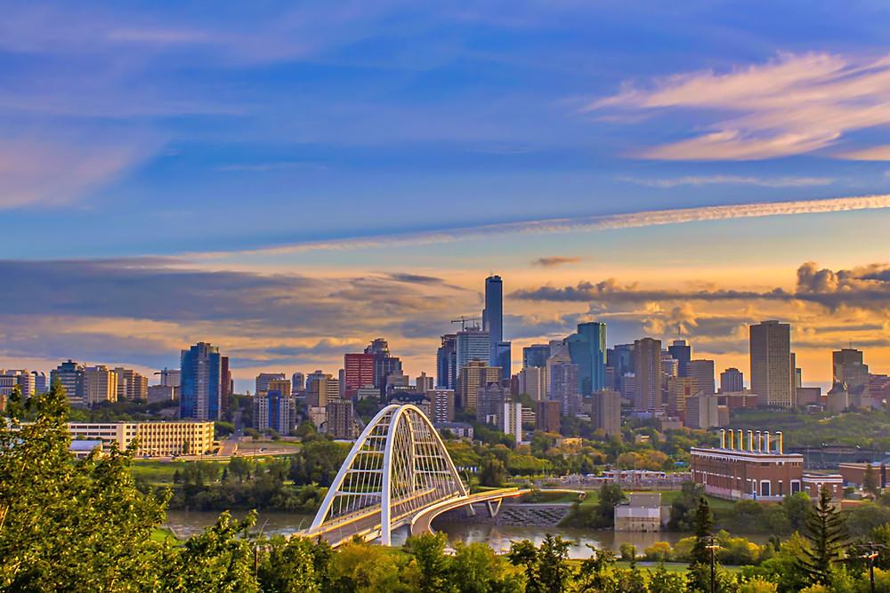 View of Edmonton skyline with the Walterdale Bridge