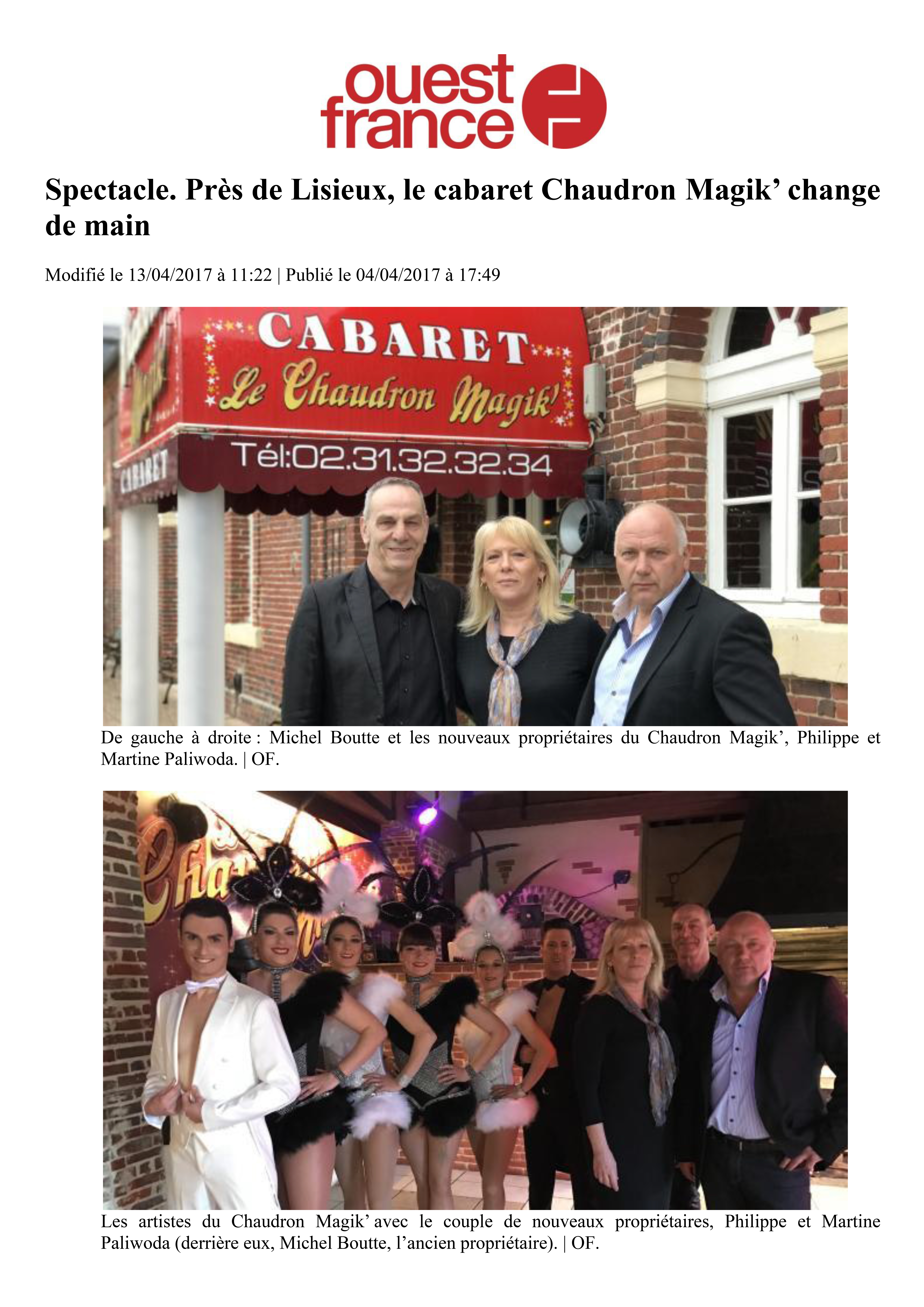 Article Ouest-France - 04.04.2017 - 01