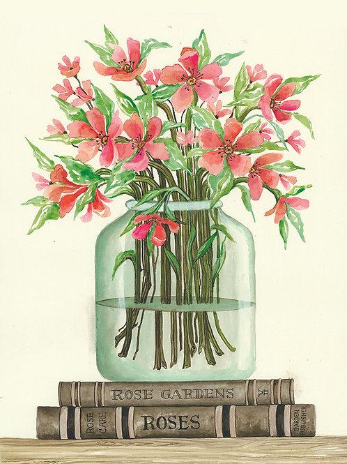 Books & Vases-Red Cosmos