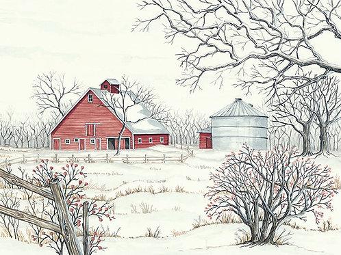 Winter Barn with Corn Bin