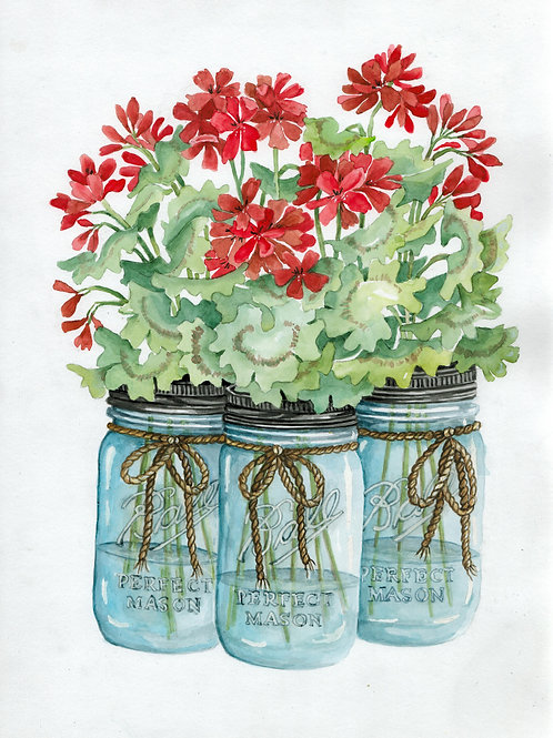 """RED GERANIUMS SUMMER BLOOMS"""