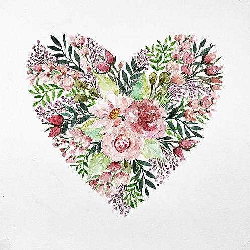 Pink Heart Floral I