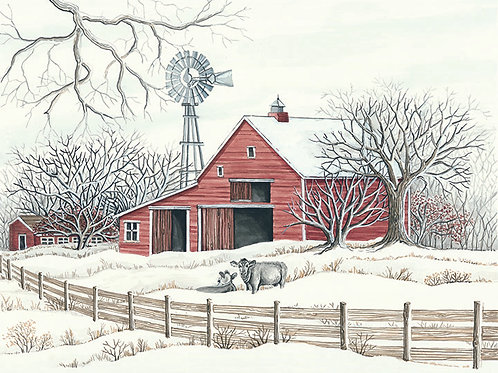 Winter Barn with Cows