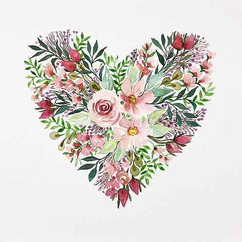 Pink Heart floral II