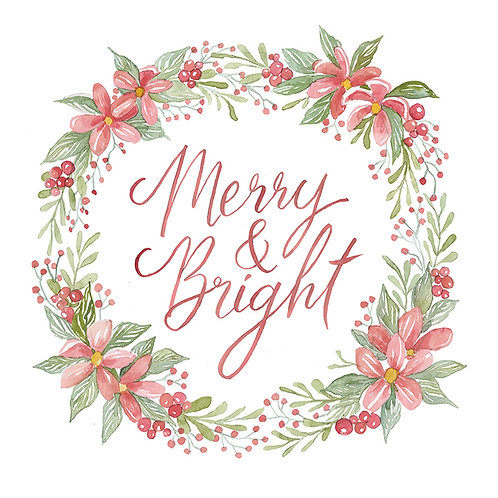 """Merry & Bright""-Pink & Green Christmas Wreath"