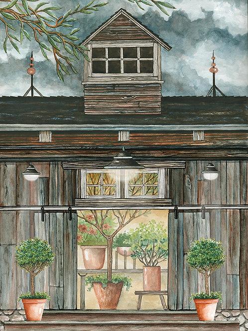 Barn Greenhouse at Dusk