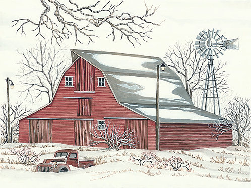 Winter Barn with Pickup