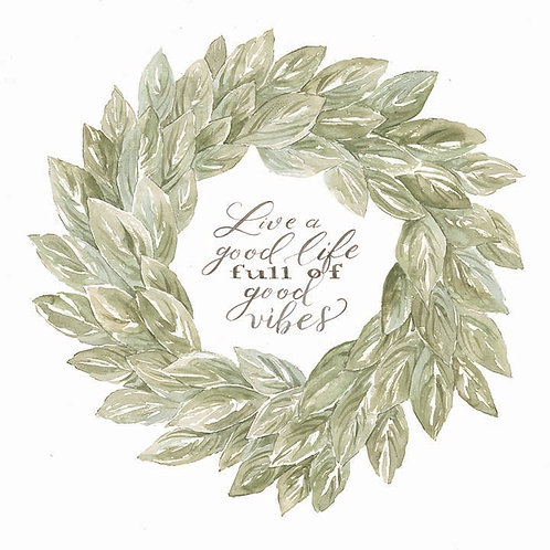 Sage Wreath-Live a good life full of good vibes