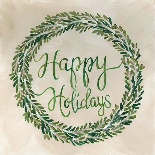 """Happy Holidays"" Greenery Wreath."