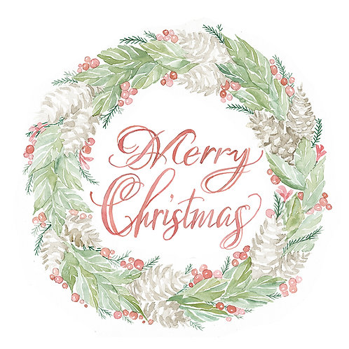 """""""Merry Christmas""""- Pink and Green Wreath"""