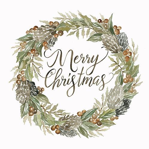 "Woodland Wreath ""Merry Christmas"""