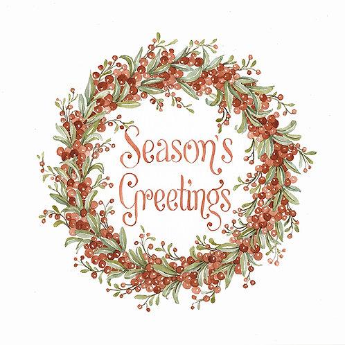 """""""Wreath Red Berries & Sage Leaves: Season's Greetings"""""""