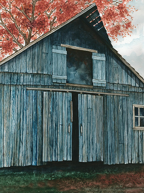 Blue Barn at Fall