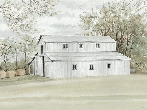 Long White Barn