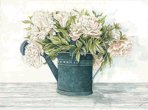 Galvanized Watering Can with Peonies