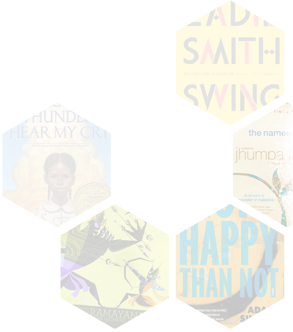 Background image of 5 hexagonal shaped cut-outs of book covers