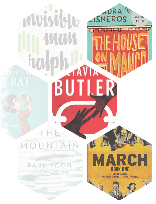 Images of 6 hexagonal shaped cut-outs of bookcovers