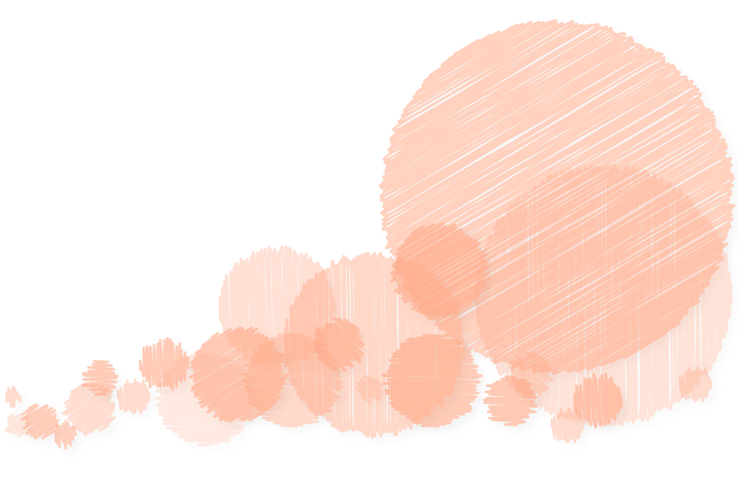 Background image of various textured peach-colored circles growing in size from left to right