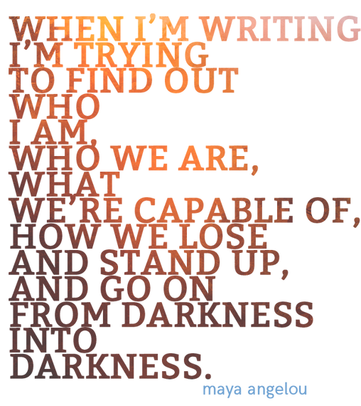 """Artistic text: Maya Angelou quote """"When I'm writing I'm trying to find out who I am, who we are ..."""""""