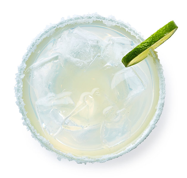 Glass of Margarita cocktail isolated on