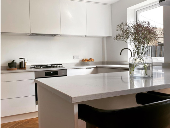 Matt White Slab Contemporary Kitchen