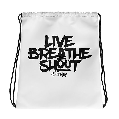 Live | Breathe | Shoot Drawstring bag