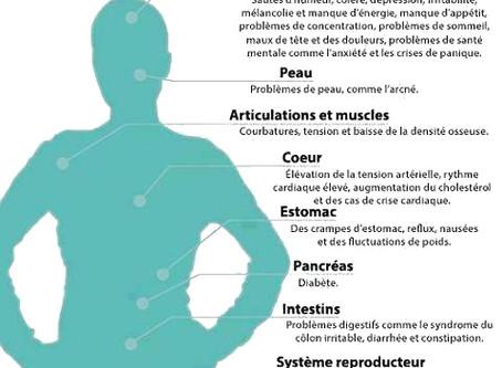 Quelques effets du stress chronique sur le corps et le mental.