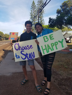 Sign waving for suicide prevention week