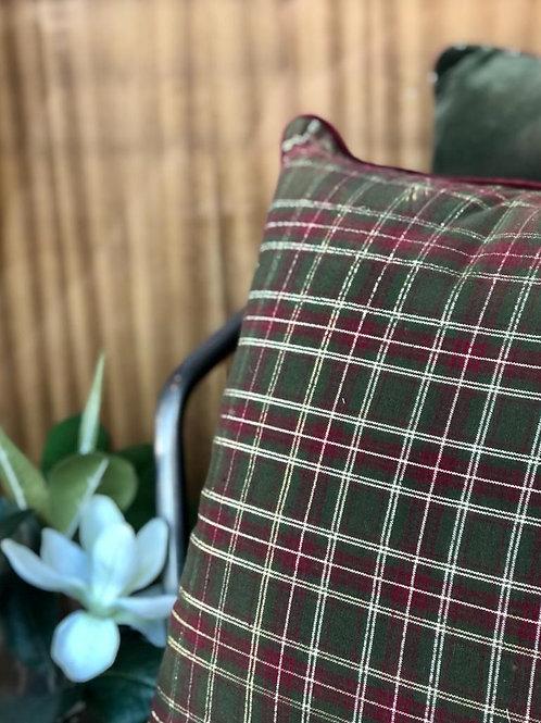 PACK DE 4 Cojínes escoceses verdes/burdeos 45X45 cm