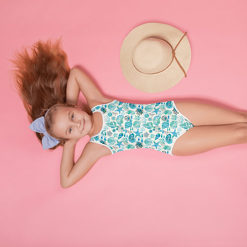 """Shell Shocked"" All-Over Print Kids Swimsuit"