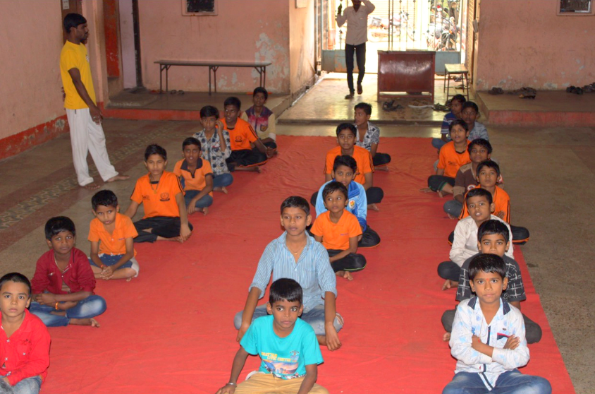 Kids assembling at the main Hall, Annapurna Ashram
