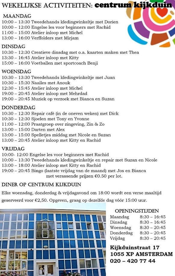 Wekelijkse activiteiten Centrum Kijkduin