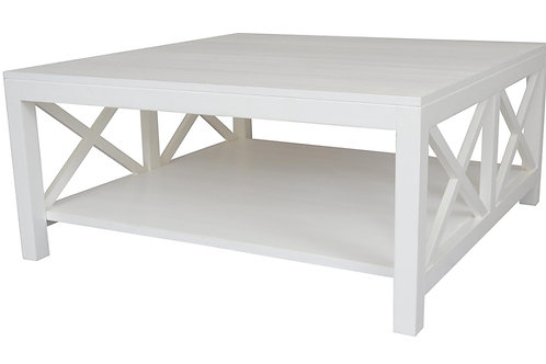 White Crossed Coffee Table Side View