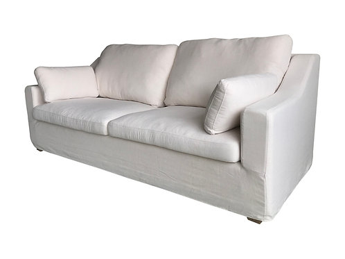 White 3 Seater Sofa Angle View