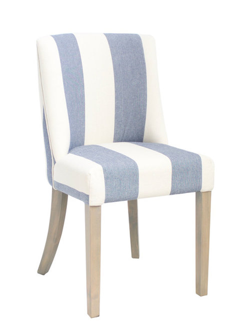 Blue and White Wide Stripe Dining Chair