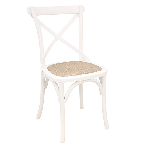 White Crossback Dining Chair Angle View