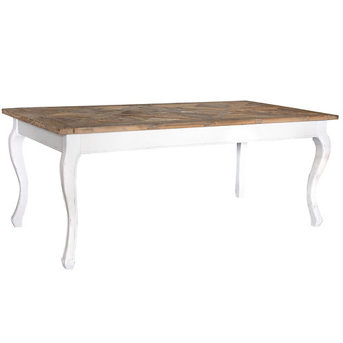 White Dining Table with Natural Top Angle View