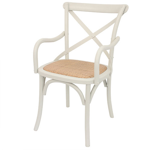 White Crossback with arms Dining Chair Angle View