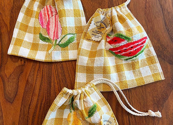 Fruited Gingham Snack and Sandwich Bags