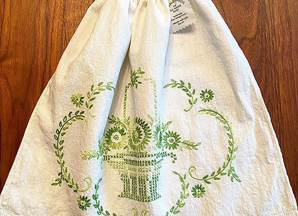 Green Basket with Flowers Produce Bag