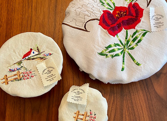 Single Rose Pie Cover and Country Lane Bowl Covers