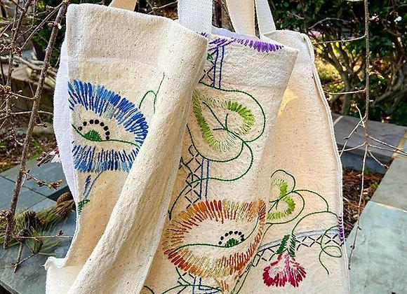 Feathered Floral Vine Market Bag