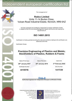 Redco ISO 14001 2015 Certificate 2019-1.