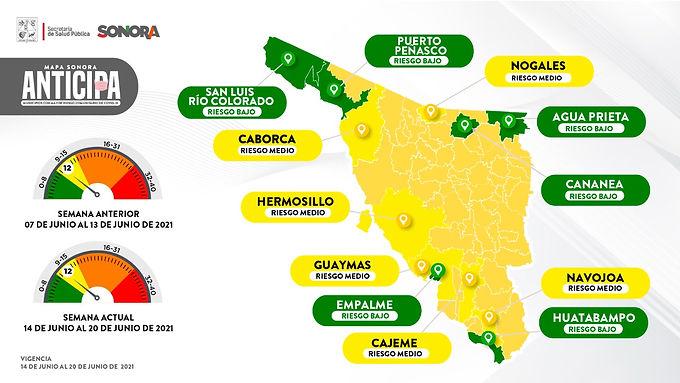 Continua Hermosillo en amarillo en el Mapa Sonora Anticipa