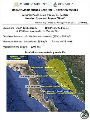 """Ciclón tropical """"Nora"""" se degradó en Sinaloa"""