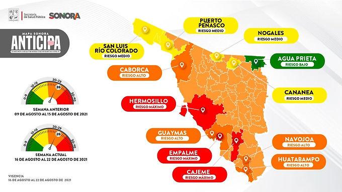Continúa Hermosillo en riesgo máximo en el Mapa Sonora Anticipa