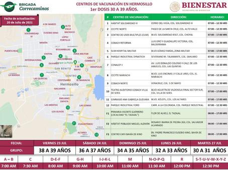 Iniciará el viernes vacunación antiCovid a jóvenes de 30 a 39 años en Hermosillo