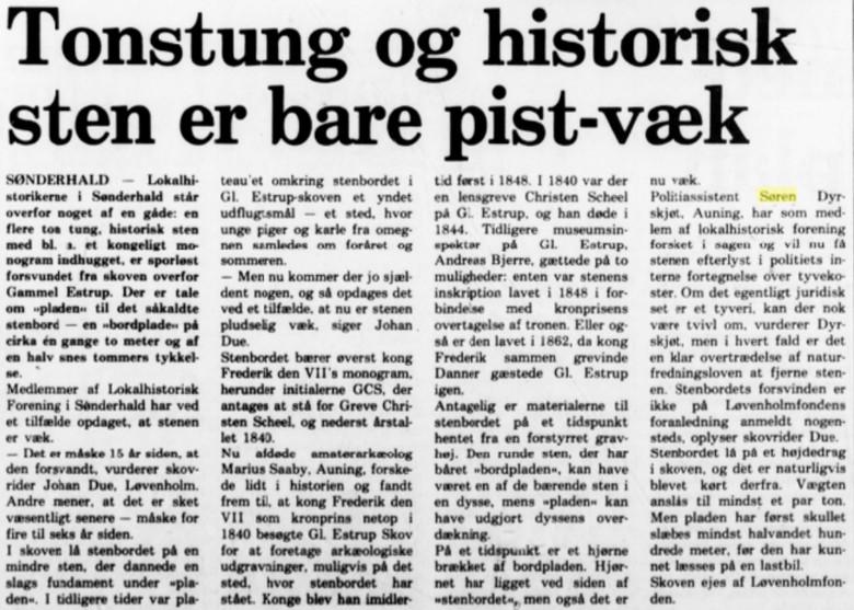 Randers Amtsavis skrev om tyveriet den 28. februar 1986. Klik på artiklen for at få en større version.