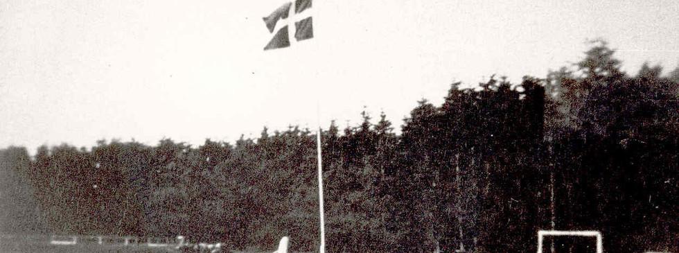 Her ses ca. 1/5 del af idrætspladsen i Floes Skov. Bemærk den store sten.  Den står nu i Uggelhuse som mindesten for befrielsen.
