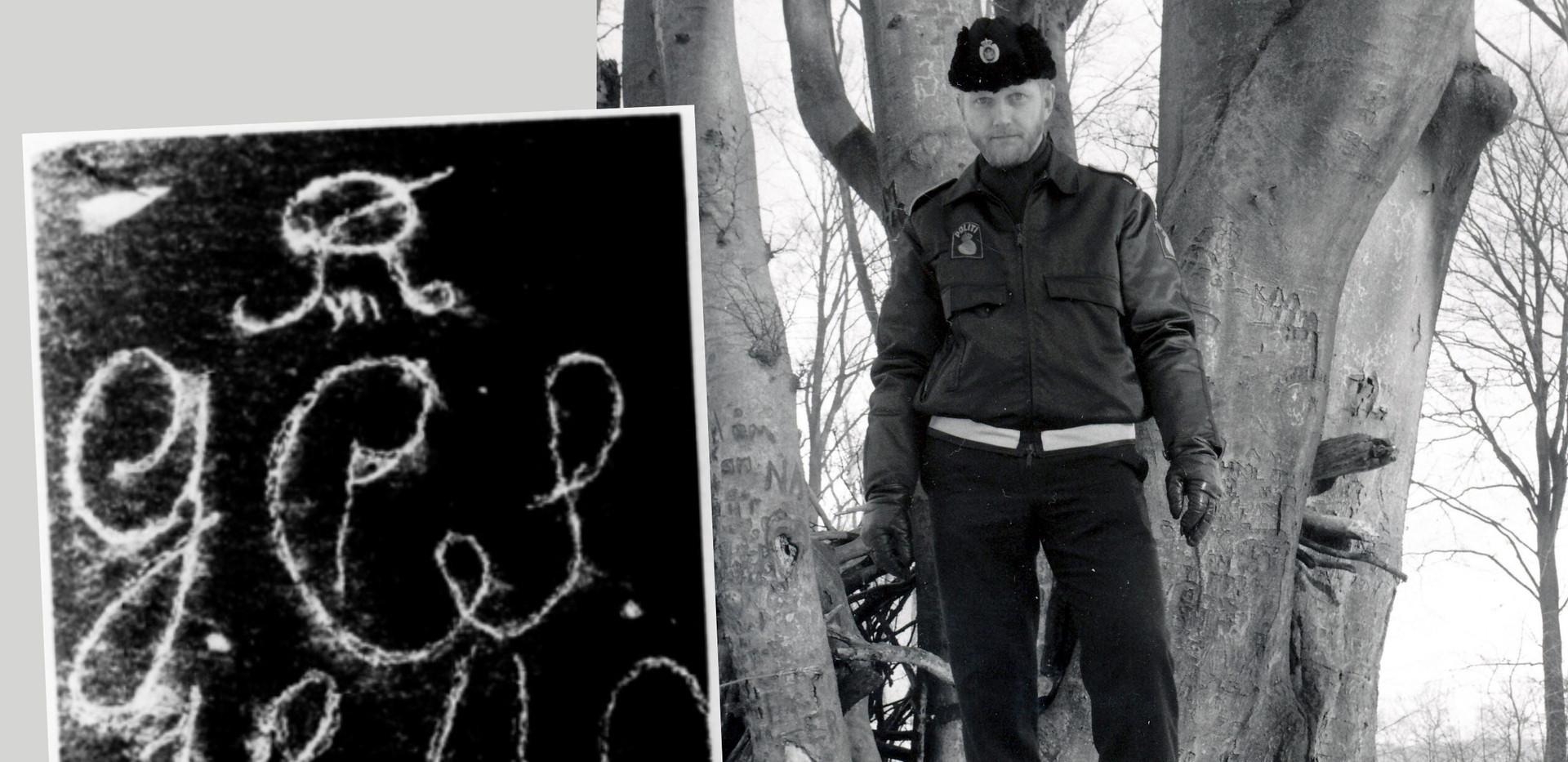 Søren Dyrskjøt i 1986 på den sten som bordpladen har ligget på.  Marius Saaby har her tegnet inskriptionen op med kridt.